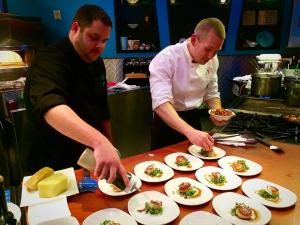 Alec Durocher and Matt Lewis getting back to their roots at their recent Guest Chefs' Table at Zazios.