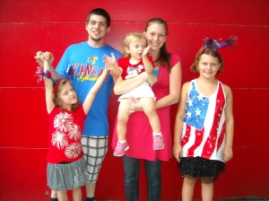 The kids and grandkids celebrating the fourth.