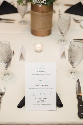 We customized our menu to reflect who we are as a couple, and featured some quirky details about ourselves.