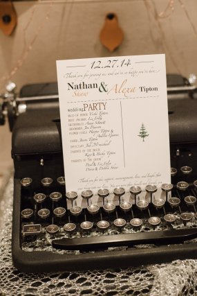 I designed and printed all of our paper materials for the wedding, and our guests used a vintage typewriter to sign in!